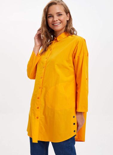 DeFacto Relax Fit Uzun Kollu Gömlek Tunik Sarı
